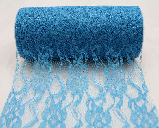 "6"" Ice Blue Sparkle Lace - 10 Yard Ribbon"